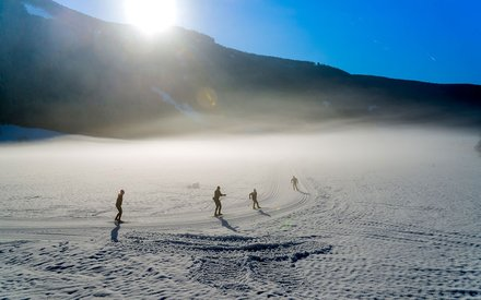Cross country skiing in Gsieser Tal