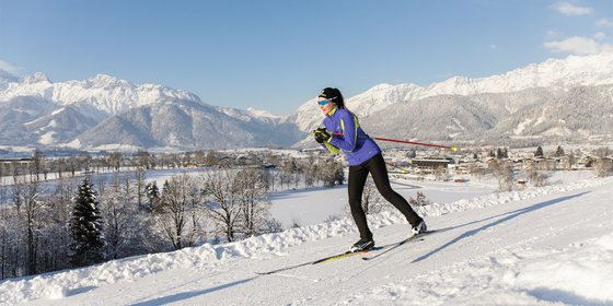 Full power of cross-country skiing trails amidst the alps