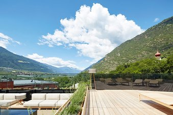 Rooftop terrace with view of the surrounding mountains