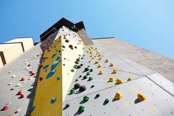 15 meter high climbing wall at the new built part of the hotel